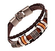 Men's Women's Leather Bracelet Friendship Multi Layer Costume Jewelry Vintage Leather Round Jewelry For Anniversary Gift Valentine