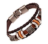 cheap -Men's Women's Leather Multi Layer Leather Bracelet - Vintage Friendship Multi Layer Round Brown Bracelet For Anniversary Gift Valentine