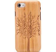 Недорогие -Кейс для Назначение Apple iPhone 7 Plus iPhone 7 С узором Рельефный Кейс на заднюю панель Имитация дерева дерево Твердый деревянный для