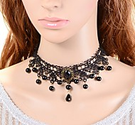 cheap -Women's Crown Synthetic Sapphire Imitation Pearl Lace Black Pearl Choker Necklace - Classic Turkish Fashion Crown Black Necklace For