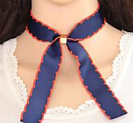Women's Choker Necklaces Bowknot Fabric Alloy Euramerican Fashion Dark Blue Jewelry 1pc