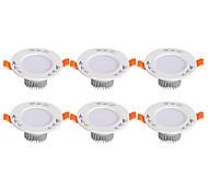 Недорогие -LED даунлайт Тёплый белый Холодный белый Светодиодная лампа 6 шт.