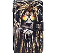 For Huawei P8 Lite (2017) P9 Lite Case Cover Lion Pattern Painted Card Stent PU Material Phone Case Mate 9 Honor 5C Honor 8 Honor 7