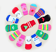 cheap -Cat Dog Socks Cute Casual/Daily Keep Warm Stripe Cartoon Pinky White/White Light gray Random Color black+black For Pets
