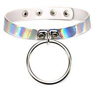 Summer Fashion Harajuku Punk PU Leather Choker Necklace Round Pendant Reflective holographic Laser Collares Necklace For Women