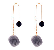 Lureme New Thread Chain with Imitation Pearl and Pom Pom Dangle Earrings for Women and Girls