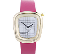 Women's U Strap Decorative Metal PU Small Belt Semi-Fan Gold Shell Quartz Watch