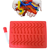 20 Cavity Snakes Worm Gummy Hard Candy Chocolate Silicone  Soap  Ice Cube Tray Mold Baby Party Cake Decorating Tools