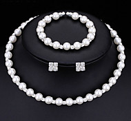 cheap -Women's AAA Cubic Zirconia Imitation Pearl Jewelry Set 1 Necklace 1 Pair of Earrings 1 Bracelet - Multi-ways Wear Fashion Round White