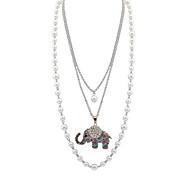 Жен. Ожерелья с подвесками Пряди Ожерелья Слоистые ожерелья Искусственный жемчуг В форме животных Искусственный жемчуг Сплав Базовый