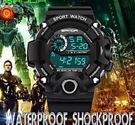 SANDA Men's Sport Watch Wrist watch Japanese Digital Calendar Water Resistant / Water Proof Noctilucent Rubber Band Cool CasualBlack