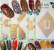 1pcs New Fashion Mixed White&Gold Colorful Pattern Design Nail Art DIY Beauty 3D Sticker Creative Decoration BP233-240