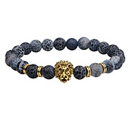 Men's Strand Bracelet Onyx Punk Hip-Hop Rock Costume Jewelry Fashion Vintage Agate Alloy Circle Round Geometric Jewelry For Party