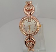 Mulheres Relógio de Moda Bracele Relógio Chinês Quartzo Digital Rosa Folheado a Ouro Lega Banda Brilhante Casual Elegantes Ouro Rose