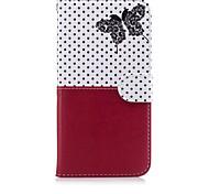 Para el iphone 7 más el patrón de mariposa 7 patrón de cuero de cuero que cose la caja del teléfono de la sección de la carpeta del estilo