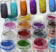 baratos -17pcs/set Pó / Glitter Powder Elegante & Luxuoso / Brilho & Glitter / Nail Glitter Nail Art Design