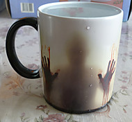 1C Newest Design Zombie Color Changing Coffee Mug Heat Senstive Magic Tea cup Mugs Walking Dead Bloody hands gift