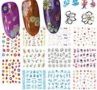 cheap -12Design/pcs Fashion Fresh Style Beautiful Flower Design Nail Art DIY Beauty 3D Sticker Sweet Flower Decoration E479-489