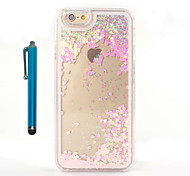 For Case Cover Flowing Liquid Transparent Back Cover Case With Stylus Glitter Shine Hard PC for Apple iPhone 7 Plus 7 6s Plus 6 Plus 6s 6 5 5s se