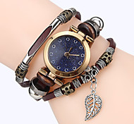Women Premium Genuine Leather Watch Triple Bracelet Watch Leaves Charm Wristwatch Fashion Para Femme
