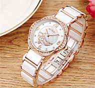 Women's Fashion Watch Wrist watch Quartz Imitation Diamond Ceramic Band White