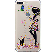 For iPhone X iPhone 8 Case Cover IMD Transparent Pattern Back Cover Case Cat Sexy Lady Soft TPU for Apple iPhone X iPhone 8 Plus iPhone 8