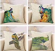 Set Of 4 Watercolor Beautiful Peacock Printing Pillow Cover 45*45Cm Cotton/Linen Pillow Case Sofa Cushion Cover