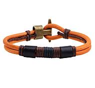 Men's Leather Bracelet Fashion Vintage Punk Hip-Hop Rock Costume Jewelry Leather Circle Round Geometric Jewelry For Birthday Dailywear