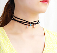Women's Choker Necklaces Pendant Necklaces Chain Necklaces Jewelry Irregular Chrome Nylon Unique Design Dangling Style Floral Jewelry For