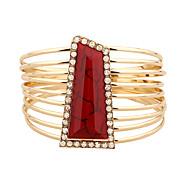 Mulheres Bracelete Enrole Pulseiras Moda Confeccionada à Mão Ligas de Ferro Liga de Metal Strass Forma Redonda Forma Geométrica Jóias Para