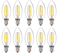 cheap -BRELONG® 10pcs 4W 350 lm E14 LED Filament Bulbs C35 4 leds COB Decorative Warm White White AC 220-240V