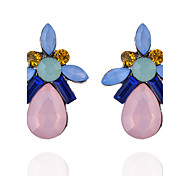 Fashion Elegant Charm Crystal Flower Water Drop Earring for Women Rhinestones Gem Stud Earrings Water Pendant Female Acrylic Wedding Jewelry Boucle