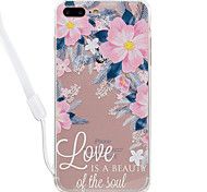 Para el iphone de la manzana 7 7 más el marco de acrílico del tpu de la alta permeabilidad del patrón de flor de la cubierta del caso del