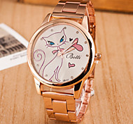 Women's Fashion Circular White Cat Alloy  Quartz Watch Cool Watches Unique Watches