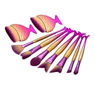 9pcs русалка рыбы форму макияж вентилятор щетка про мягкой косметической кисти комплект kabuki комплект
