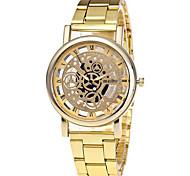 XU Men's Luxurious Elegant Quartz Alloy Steel Belt Wrist Watch Hollow Out Copy Machine Dress Watch
