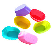 12 pcs Mixed color  Oval Silicone Cake Muffin Chocolate Cupcake Liner Baking Cup Cookie Mold New Arrival