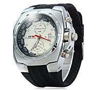 Men's Sport Watch Dress Watch Fashion Watch Chinese Quartz Calendar Rubber Band Casual Cool Black