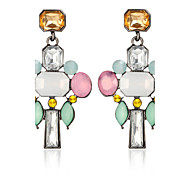 Fashion Elegant Charm Colorful Crystal Flower Long Drop Earring for Women Rhinestones Earrings Water Pendant Female Acrylic Wedding Jewelry Boucle