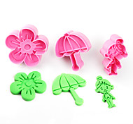 cheap -2017 New Arrival Set of 3 Rural Symbols Cake Molds Umbrella Flower Girl Cookie/Biscuit Cutter for Fondant Cake Decorating