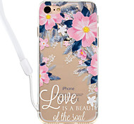 Case For iPhone 7Plus 7 Flower Pattern Acrylic Backplane and TPU Edge Material Neck Lanyard 6S Plus 6Plus 6S 6 SE 5S 5
