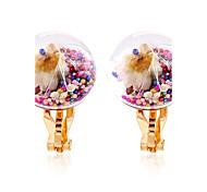 Недорогие -Жен. Застежка серег Клипсы серьги шарика Цветочный дизайн Цветы Круг Цветочный принт Мода Rock Multi-Wear способы Радужный Резина В форме