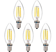 abordables -BRELONG® 5pcs 4W 350 lm E14 Bombillas de Filamento LED C35 4 leds COB Blanco Cálido Blanco AC 220-240V