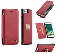 For iPhone 8 iPhone 8 Plus Case Cover Card Holder Wallet Ring Holder Flip Full Body Case Solid Color Hard Genuine Leather for Apple