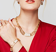 cheap -Women's Gold Plated 18K Gold Jewelry Set Ring Bracelet Earrings Statement Necklace - Vintage Cute Party Casual Statement Fashion Jewelry