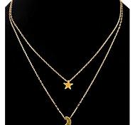 Жен. Ожерелья с подвесками Ожерелья-цепочки Слоистые ожерелья В форме звезды месяц Сплав Уникальный дизайн В виде подвески Стразы Дружба