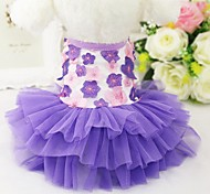 Cat Dog Tuxedo Dress Dog Clothes Party Casual/Daily Wedding Floral/Botanical Blushing Pink Purple