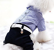 cheap -Dog Jumpsuit Dog Clothes Casual/Daily Stripe Red Blue Costume For Pets