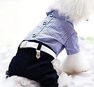 Недорогие -Собака Комбинезоны Одежда для собак На каждый день В полоску Красный Синий Костюм Для домашних животных