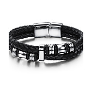 cheap -Men's Women's Bangles Natural Fashion Faux Leather Stainless Steel Round Jewelry Party Birthday Party / Evening Gift Evening Party